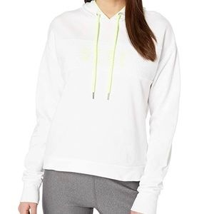 Bebe Sport Pullover Hoodie Sweater White Yellow L